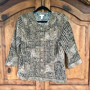 Chico's Button Front Animal Print Jacket